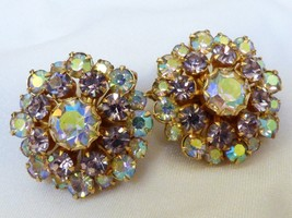 VTG Fashion Gold Tone PINK Aurora Borealis Crystal Rhinestone clip earrings - $31.68