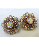 VTG Fashion Gold Tone PINK Aurora Borealis Crystal Rhinestone clip earrings - $31.68