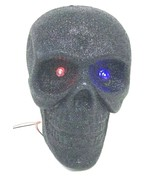 Vintage Halloween Black Sparkly Skeleton Mini Skull Head Color LED Light... - $24.30