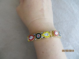 "Vintage 1960's Italian Floral Micro mosaic links bracelet gold tone 7 3/4"" long - $24.99"
