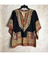Womens Top Size Medium Cotton Boho Hippie Pakistan 100% Cotton Black Mul... - $38.22