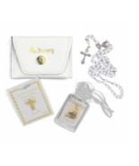 GIRL'S FIRST COMMUNION SET WITH LEATHERETTE ROSARY CASE - $37.99