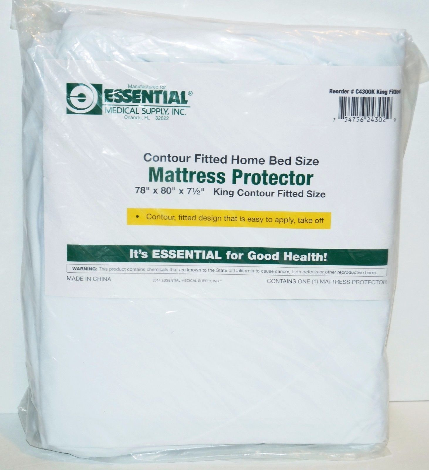Essential Medical Supply Contour Mattress Cover, King, 78 Inch X 80 Inch X 7 Inc - $9.47