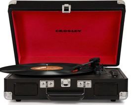 Retro Portable Record Player Turntable Vinyl Stereo Bluetooth Suitcase Black - $59.04