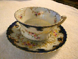 Gorgeous Paragon Cobalt and Gold Floral Cup & Saucer, Scalloped Edge, Excellent - $140.24