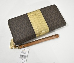 NWT Michael Kors Money Pieces Continental Wallet/ Wristlet in Brown & Gold - £118.61 GBP