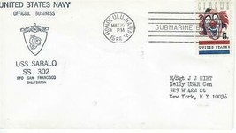 Sabalo (SS-302) Ship Cachet Cover May 16 1966 PM Honolulu HI Submarine Base - $3.47