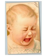 Vintage 1907 Postcard Crying Blonde Hair Baby - Where's my Bottle - Funny - $15.81