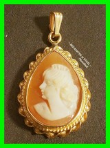 Beautiful Antique 14k Vintage Cameo Pendant 28 mm 2.7g Stunning! ~ Stamped 14k - $184.29