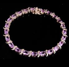 Vintage Amethyst bracelet - Sterling Silver - lilac Purple - Sweetheart gift - w - $110.00