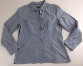 Talbots Chambray Denim Shirt Top Size 12 Ruffle Long Sleeve - $18.99
