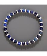 Lapis Lazuli & Hematite Beaded Gemstone Elastic Stretch Bracelet for Wom... - $28.99