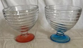 Set of 2 Sherbet Glasses SWIRL RIBBED PATTERN SHERBERT/DESSERT DISH Colo... - $17.81