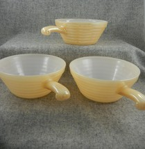 Fire King Anchor Hocking 3 Beehive Chili Soup Bowl handle Peach Lustre USA Made - $23.00