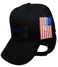 Black Police Thin Blue Line (Patch w/ Blue Line) Low Profile Cap Hat - $19.88