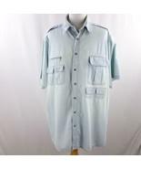 King Size Lt Blue Denim Short Sleeve Shirt 6 Pocket Mens Sz 3XL - $24.18