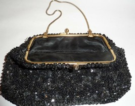 Beautiful Vintage Black Beaded Beads Sequins Convertible  Evening Bag Ho... - $27.72