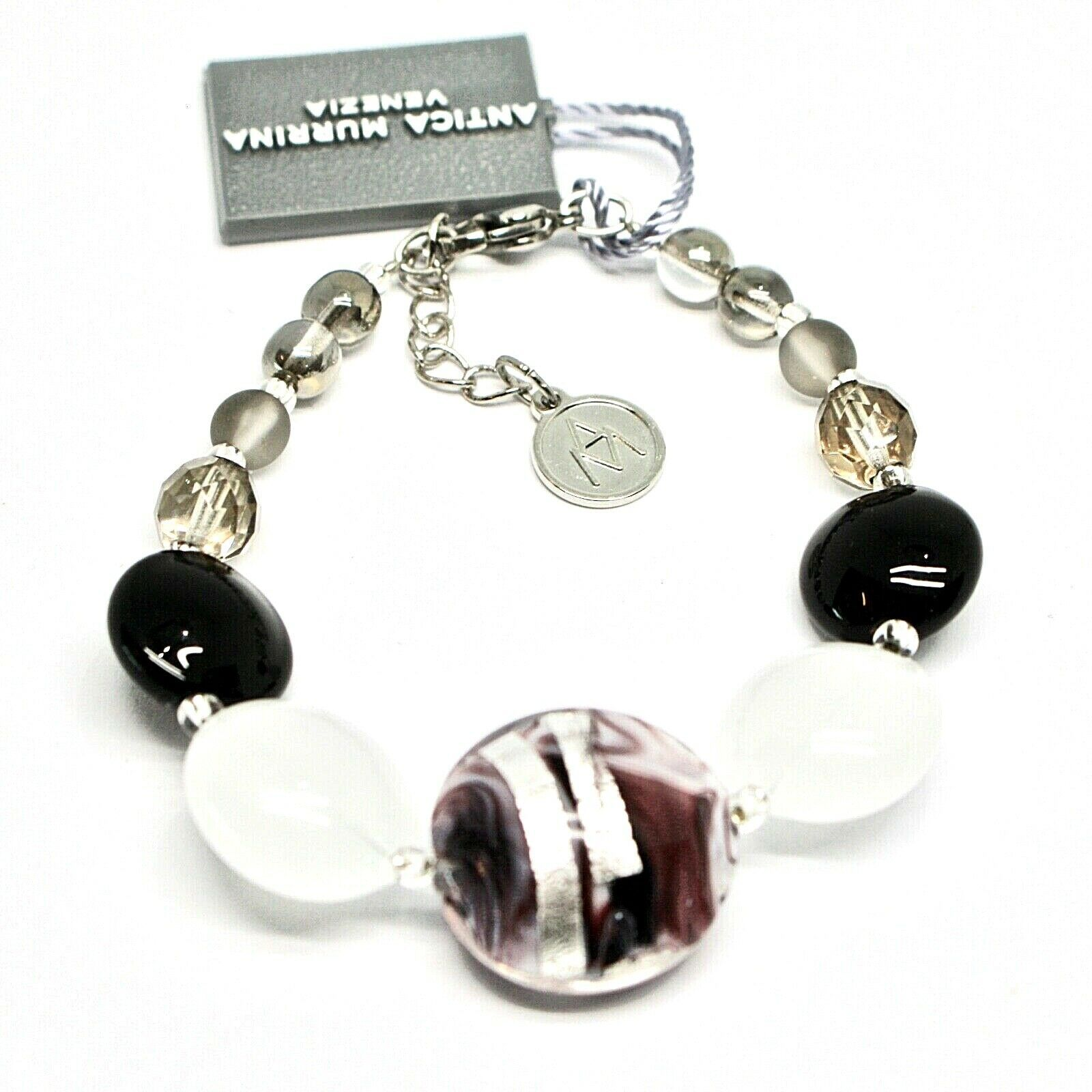 Bracelet Antique Murrina Venezia Lampwork Murano Glass Charm Bead Black & White
