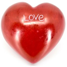 """Vaneal Group Hand Carved Soapstone 2-Sided Red """"Love"""" Heart Paperweight image 1"""