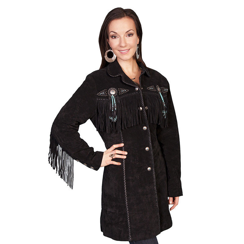 QASTAN Women's New Black Fringe / Beaded Suede Cow Leather Long Coat WWJ15A