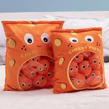 Fluffy Puff Pillow Stuffed Pillow lifelike Orange Cheesy Puffs - $30.02+