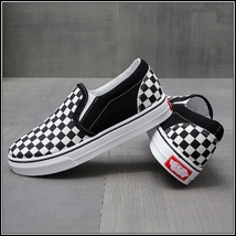 Checkered Black and White Casual Slip On Flat Canvas Sneaker Loafers image 1