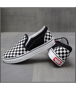 Checkered Black and White Casual Slip On Flat Canvas Sneaker Loafers - £48.96 GBP
