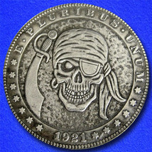 "Pirate Skull with Eye Patch ""Hobo Nickel"" on Morgan Dollar Coin ** - $4.79"