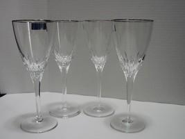 "Set of 4 Waterford Marquis ""Claria"" Platinum Wine Glasses - $65.00"