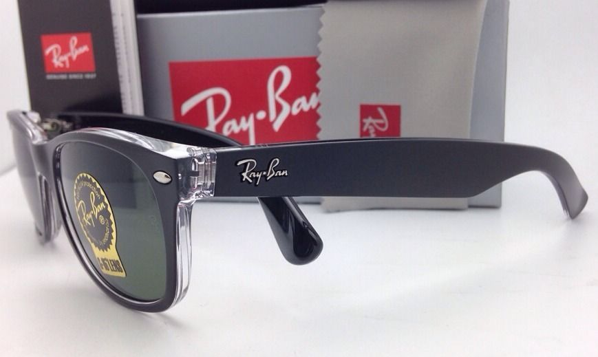 e3b9fcd2b13 RAY-BAN Sunglasses RB 2132 6052 55-18 NEW WAYFARER Black on Clear w  G-15  Lenses