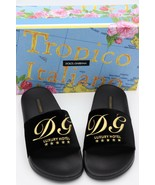 NIB DOLCE & GABBANA Black Velvet Luxury Hotel Logo Slide Sandals 8.5 39 ... - $195.00