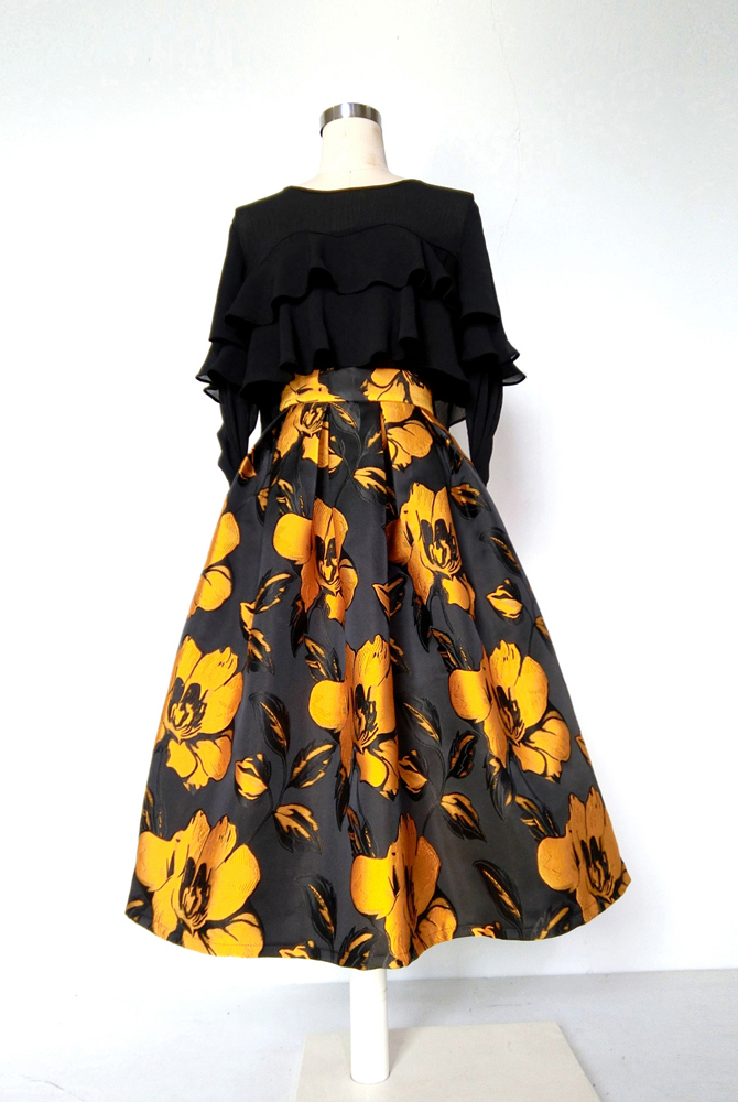 Yellow Midi Jacquard Skirt Outfit A-line Pleated Midi Party Skirt