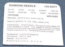 159-DS77 RECORD PLAYER DIAMOND NEEDLE STYLUS for Astatic 15D 17D Astatic N41-sd image 2