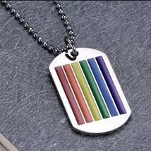 LGBT Necklace, Dog Tag, Rainbow Pendant - $7.69