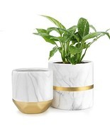 "HOMENOTE White Ceramic Flower Pot Garden Planters 6"" Pack 2 Indoor, Plan... - $26.74"