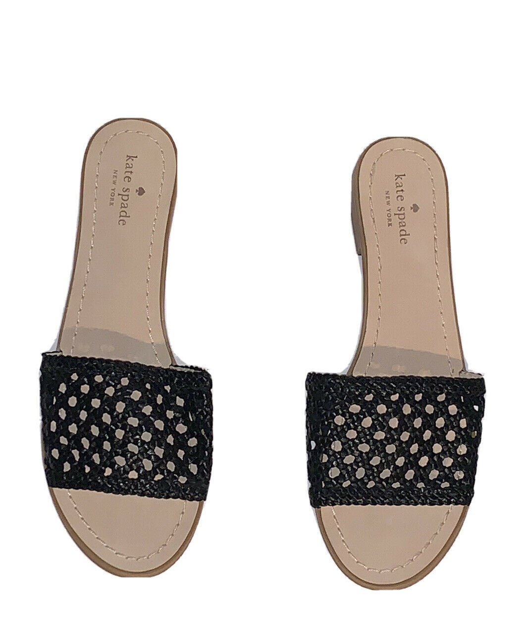 NEW $129 Kate Spade New York Berlin Black Woven Leather Slides/Sandals 11 - $65.00