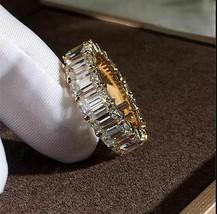 3Ct Emerald Cut VVS1/D Diamond Full Eternity Wedding Band 14K Yellow Gol... - $93.59