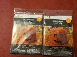 Lot of 2 Various Pumpkin Halloween Leaf Bags Decoration Large Lawn Decor... - $8.36