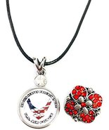 """Son in US Air Force Snap on 18"""" Leather Rope Diamond Pendant Necklace W/... - $20.53"""