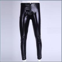 Men's Skin Tight Black Color Faux Latex Zipper Pouch Stretch Pants Leggings  image 2