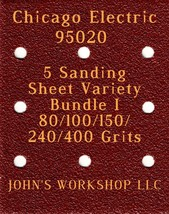 Chicago Electric 95020 - 80/100/150/240/400 Grits - 5 Sandpaper Variety Bundle I - $7.53