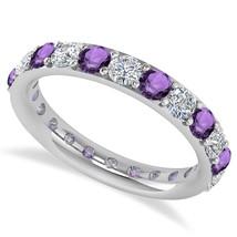 2.00 Ct Round Real Diamond & Amethyst 14K Gold Full Eternity Wedding Ban... - €596,18 EUR