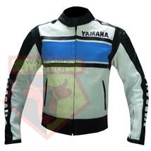 YAMAHA 5241 SKY BLUE MOTORBIKE MOTORCYCLE BIKER COWHIDE LEATHER ARMOURED... - $194.99