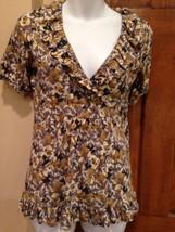 Womens Ann Taylor Loft Gray Brown Floral Short Sleeve Shirt  V Neck XS 2-4 - $9.74
