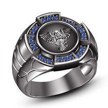 Mens Eagle Design Embossed Blue Sapphire Wedding Anniversary Ring in 925 Silver - $135.99