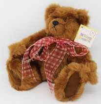 """Sally Winey Collectible Brown Plush Poseable  Bear Chestnut Red Bow NWT 12"""" - $25.64"""