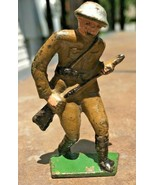 Early Grey Iron 7 US Doughboy Charging Lead Dimestore Toy Soldier Circa ... - $29.99
