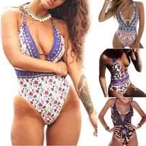 Women Floral Backless Monokini Beachwear Padded Swimsuit Summer One Piece Bikini image 2