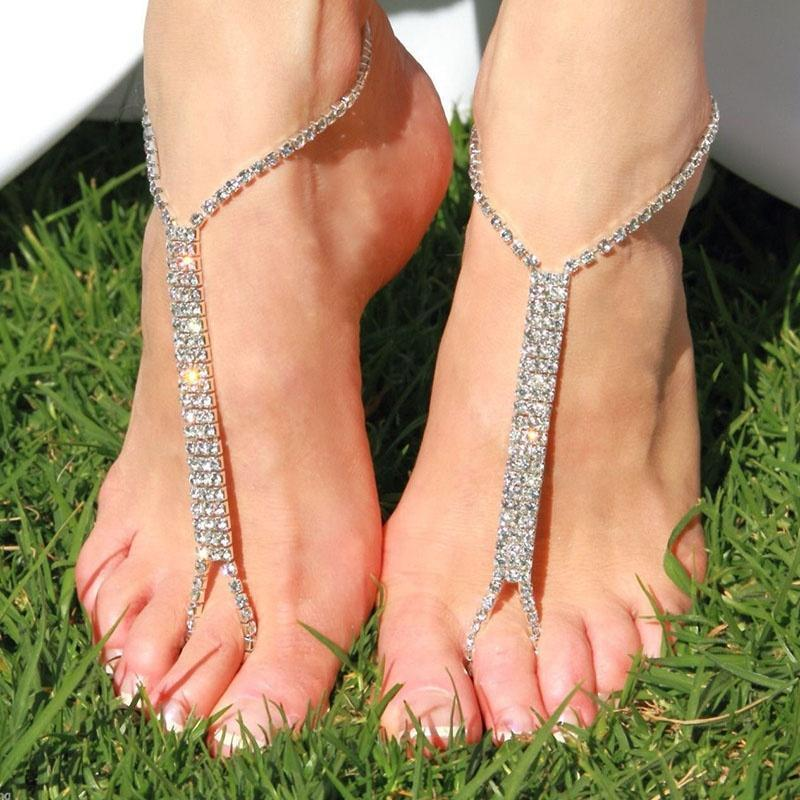 2015 Hot 1PC Barefoot Beach Sandals Bridal Wedding Rhinestone Anklet Foot Chain