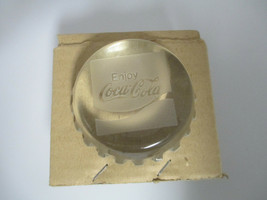 Coca-Cola Vintage Etched Glass Bottle Cap Paperweight Enjoy Coca-Cola Logo - $24.75